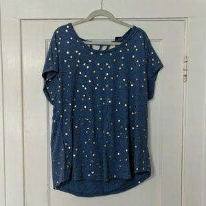 NWT Heather blue foil star t-shirt lane Bryant
